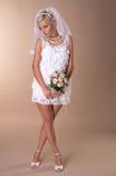 美丽的白肤金发的新娘纵向  免版税图库摄影