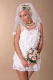 美丽的白肤金发的新娘纵向  免版税库存图片