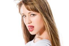 美丽的白肤金发的方式女孩纵向 免版税库存图片