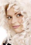 美丽的白肤金发的纵向妇女年轻人 图库摄影