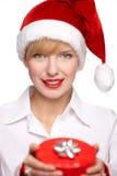 美丽的白肤金发的纵向妇女 免版税库存图片