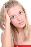 美丽的白肤金发的纵向妇女 库存照片