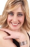 美丽的白肤金发的纵向妇女 免版税库存照片