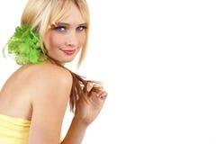 美丽的白肤金发的纵向妇女 库存图片