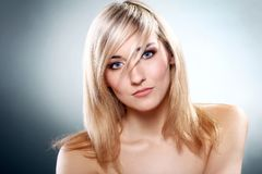美丽的白肤金发的纵向 库存图片