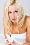 美丽的白肤金发的花 免版税库存图片