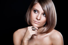 美丽的白肤金发的表面女孩 库存照片