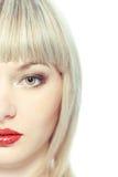 美丽的白肤金发的迷人的纵向 库存照片