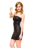 美丽的白肤金发的香槟玻璃年轻人 免版税图库摄影