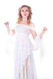 美丽的白色服装妇女 免版税库存图片
