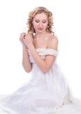 美丽的白色服装妇女 图库摄影