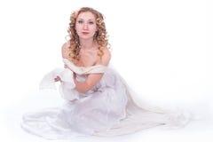 美丽的白色服装妇女 库存照片