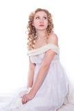 美丽的白色服装妇女 免版税图库摄影