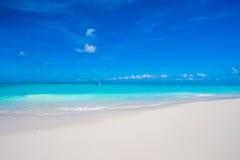 美丽的白色沙子海滩和绿松石净水在热带异乎寻常的海岛上 库存图片