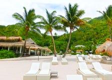 美丽的白色海滩在圣卢西亚,加勒比岛 库存图片