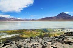 美丽的白色湖在玻利维亚沙漠 库存照片