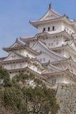 美丽的白色著名与老结构的世界遗产treditional木城堡保留在Himaji 图库摄影