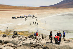 美丽的盐水湖在阿塔卡马沙漠 免版税库存照片