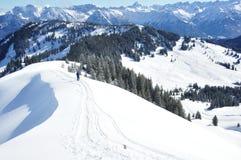 美丽的目的地横向滑雪雪 库存照片