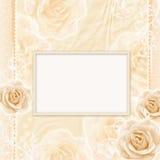 美丽的看板卡玫瑰 免版税库存照片