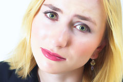 美丽的眼睛哀伤的妇女 免版税库存照片