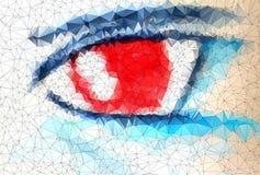 美丽的眼睛在几何称呼的抽象几何背景中 免版税库存照片