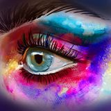 美丽的眼睛组成剪影 与大鞭子的美丽的眼睛 五颜六色的妇女的水彩手拉的例证注视 皇族释放例证