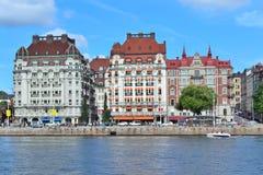 美丽的码头在斯德哥尔摩 免版税库存照片