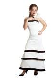 美丽的礼服夜间妇女 免版税库存图片