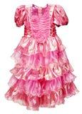 美丽的礼服女孩查出的桃红色白色 免版税库存照片