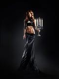 美丽的礼服方式射击妇女 免版税库存照片