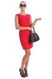 美丽的礼服毫华红色性感的短的妇女&# 免版税库存照片