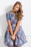 美丽的礼服的卷曲女孩 库存图片