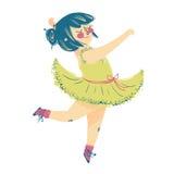 美丽的礼服的逗人喜爱的矮小的芭蕾舞女演员 免版税库存图片