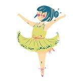 美丽的礼服的逗人喜爱的矮小的芭蕾舞女演员 免版税库存照片