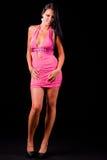 美丽的礼服粉红色妇女 免版税库存照片