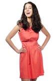 美丽的礼服红色妇女年轻人 免版税库存图片