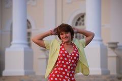美丽的礼服红色性感的妇女 库存图片