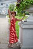 美丽的礼服红色性感的妇女 图库摄影