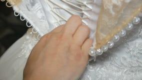 婚纱配件 美丽的礼服绣与宝石 影视素材