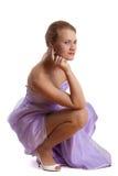 美丽的礼服长的妇女年轻人 免版税库存图片