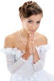 美丽的祈祷的妇女年轻人 库存照片