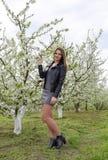 美丽的神仙的女孩在一个开花的李子庭院里 一个女孩的画象白花背景的 免版税库存图片