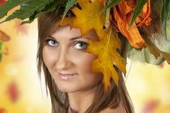 美丽的秋天妇女 库存照片
