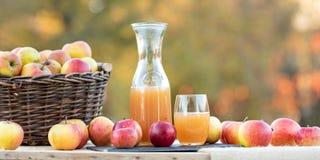 美丽的秋天果子在桌上安排了 在玻璃和瓶的新鲜的苹果汁 图库摄影