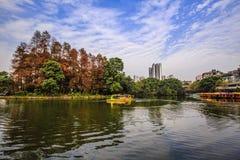 美丽的秋天湖在公园 免版税库存照片