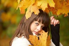 美丽的秋天纵向妇女 库存图片