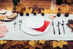 美丽的秋天装饰和利器顶视图  免版税图库摄影