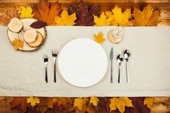 美丽的秋天装饰和利器顶视图  免版税库存图片