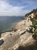 美丽的科孚岛海滩画象  免版税库存照片